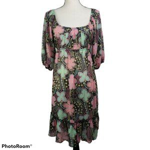 Fleurish Dress Black Pink Floral Sheer Peasant